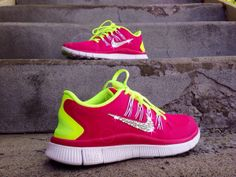 Hit the gym with this adorable pair of pink Nike Frees. Customized with Swarovski Crystal Rhinestones, these shoes will give you a look that is all your own. Available for $79 at http://glitterkicks.com/products/women-s-nike-free-5-0-custom-swarovski-crystal-rhinestone-swoosh-pink-volt-yellow http://cgi.ebay.com/ws/eBayISAPI.dll?ViewItem&item=271494940427&ssPageName=STRK:MESE:IT
