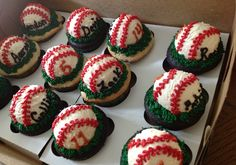 Large baseball cupcakes with player names and numbers