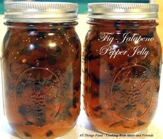 """Cooking With Mary and Friends: Fig-Jalapeno Pepper Jelly..."""".. another great one served over cream cheese on crackers. Recipe also includes links for: Apple-Pepper Jelly, Carrot-Pepper Jelly, Pepper Jelly, Garlic-Onion Jelly,Peach-Pepper Jelly, Pineapple-Pepper Jelly, Craisin-Pepper Jelly"""""""