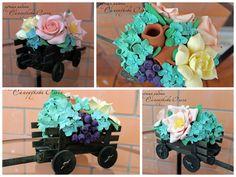 Тележка с цветами Polymer Clay, Deco, Decor, Deko, Decorating, Decoration, Modeling Dough