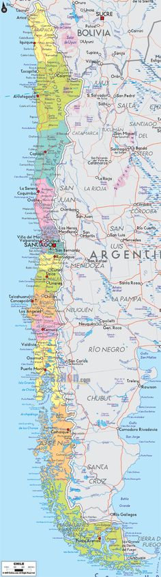 Map of Chile in South America