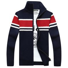 Fall Winter Mens Fashion Warm Sweater Striped Knitted Stand Collar Casual Jackets