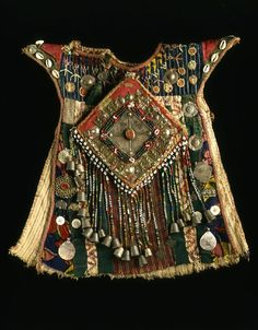 Turkomen child's dress from Afghanistan Cotton, wool, metal, beads, buttons and shells
