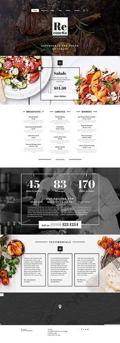 $75 - ReConetta Joomla Template This #restaurant template will fit for any kind of cuisine. Photos of the served dishes look very appetizing. Featured dishes are perfectly presented in a slider. The user can view restaurant #menu with all prices stated, right from the home page of the website. The author uses white background for the purpose, so the text is clearly legible. The combination of colored and black and white photos makes Cafe And Restaurant #Joomla #Theme layout unusual.