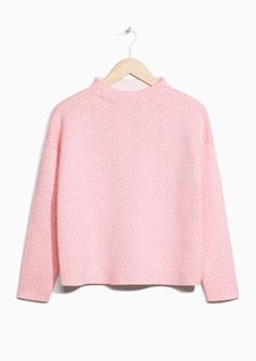 & Other Stories image 2 of Pixel Jacquard Sweater in Light Pink