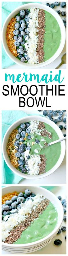 Mermaid Smoothie Bowl. Vegan and Dairy-Free. No added sugar or sweetener, just naturally sweet! Balancing, tasty and healthy with super nourishing ingredients (like spirulina & avocado) for a beauty-enhancing power breakfast! From The Glowing Fridge #vegan #smoothie #bowl