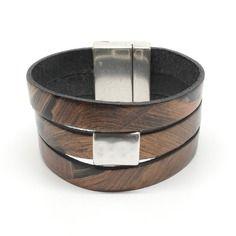 Bracelet cuir 3 rangs noir / cuivré et métal martelé - r430