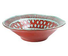 Insalatiera/Portafrutta in stoneware Frida rosso - 38x38x11 cm
