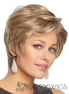 2015 Cool Short Wavy Blonde 8 Inch Human Hair Wigs