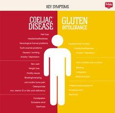 8 ways to distinguish coeliac disease from gluten intolerance Gluten Free Recipes gluten free diet Celiac Disease Symptoms, Gluten Intolerance Symptoms, Wheat Allergy Symptoms, Signs Of Celiac Disease, Gluten Symptoms, Medical Symptoms, Autoimmune Disease, Gluten Free Food List, Gluten Free Diet Plan