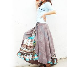 Nepalese sari maxi skirt Q1106 by idea2lifestyle on Etsy, $58.00