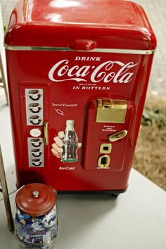 "Your very own coke machine at the  cocktail hour; click to see more from ""Wedding Inspiration Shoot with Beautiful Handwritten Signage""; photo: Andie Freeman"