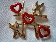 Vintage Signed AJC Goldtone/Red Hearts and Kisses by JoJosJJs