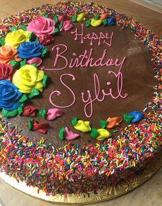 Sprinkle Birthday Cake - Mueller's Bakery Birthday Cakes, Happy Birthday, Sheet Cakes, Sprinkles, Bakery, Chocolate, Desserts, Recipes, Food