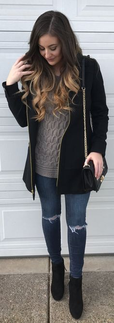 #winter #fashion /  Black Coat / Grey Knit / Ripped Skinny Jeans /black Booties