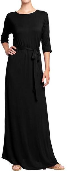 Old Navy Black Jersey Tiebelt Maxi Dresses