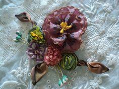 Handmade antique ribbonwork Applique bouquet milinery lampshade silk ombre ribbon