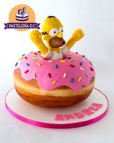 The Simpsons Cake Homer Simpson Donuts, Homer Donuts, Simpsons Cake, Simpsons Party, Delicious Cake Recipes, Yummy Cakes, 12th Birthday Cake, Creative Birthday Cakes, Fiesta Cake