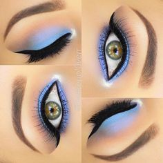 cornflower #blue + lavender blended into warm, bronze-y brown + black winged #eyeliner | colorful #makeup @makeupl0verr