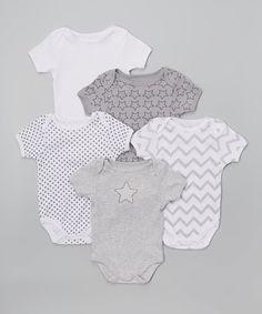 Another great find on #zulily! René Rofé Baby White & Gray Stars Bodysuit Set - Infant by René Rofé Baby #zulilyfinds