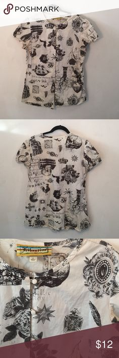 Rare Libertine For Target Black and Cream Blouse This short sleeve cream and black, button down blouse is a rare find! It has gathered sleeves, a row of buttons up the front and a cool black print featuring skulls and other goth imagery. It's a size large and runs true to size. 💟Make me an offer or bundle to save 30%! Libertine For Target Tops Button Down Shirts