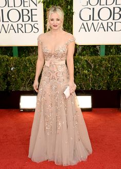 Kaley Cuoco walked the red carpet in Zuhair Murad's tulle gown featuring hand-embroidered floral lace detail.