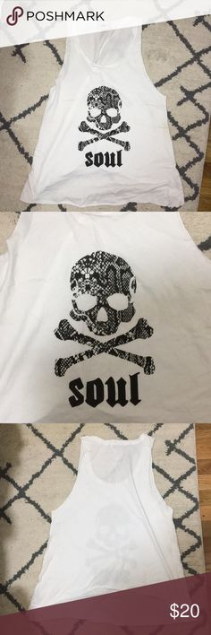 NWOT Soulcycle Soul Skull Tank Oversized white tank - never worn! With classic soulcycle skull with snake print soulcycle Tops Tank Tops
