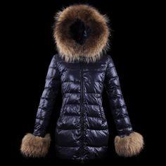 2013 Moncler Women Long Down Fur Coat Bluish violet