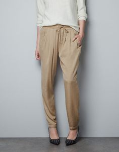 ELASTICATED TROUSERS WITH ZIPS - Trousers - TRF - ZARA United States