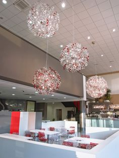 Metal Lux Astro Pendants with Crystal and Red Glass and Chrome Frame