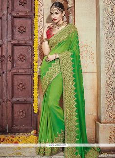Magnificent Georgette Green Patch Border Work Designer Bridal Sarees Model: YOSAR8273