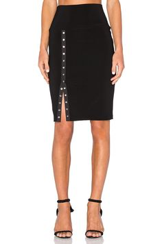 Norma Kamali Side Snap Skirt to Knee in Black | REVOLVE