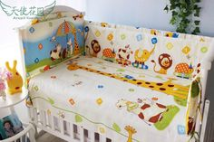 Promotion! 6PCS Baby Cot Crib Bedding Sets Nursery Bedding Kits set Crib Bumpers Sheet   (bumpers+sheet+pillow cover)