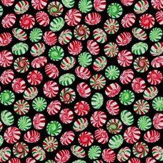 Holiday Munchies Peppermints Red Green with Sparkles Cotton Fabric