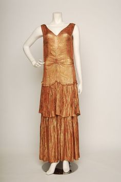 Late 1920s Pink and Gold French Lamé Gown