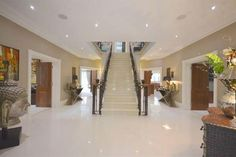 6 bed detached house for sale in Sandy Lane, Kingswood, Tadworth - 38439226 - Zoopla Mobile Modern Stair Railing, Modern Stairs, House Designs Ireland, Ideal Home Show, House Staircase, Design Your Dream House, Home Design Plans, Luxury Interior Design, House Goals
