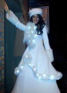 Gorgeous Winter Wonderland Stilt Character With Light Up Costume Costumes