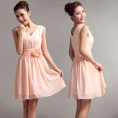 V-neck A-line with flower decorate waist part chiffon bridesmaid dress