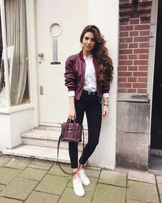 f0f266ea2353 burgundy-bomber-jacket-look- Super cute winter outfits for girls Burgundy  Bomber