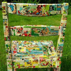 Diy decoupage chair with comics