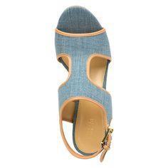 636bcdda2674 Michael Michael Kors Gillian Mid Wedge Women Open Toe Leather Blue Wedge  Sandal   Visit the image link more details.