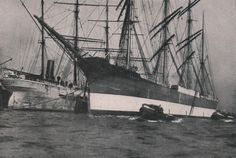 The famous Flying P-Liner Peking in the port of Hamburg in The barque Peking ts) was launched on Febr. 1911 by Blohm & Voss, Hamburg as a cargo sailing vessel and commissioned on May 1911 for F. Old Sailing Ships, Uss Constitution, Classic Wooden Boats, Ship Names, Old Port, Model Ships, Tall Ships, Ocean, World