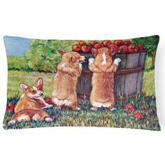 Carolines Treasures Apple Helper Corgis Decorative Outdoor Pillow - 7351PW1216