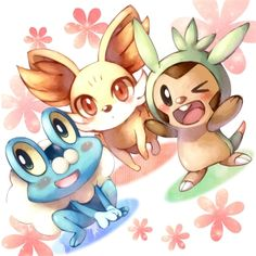 New Pokémon X and Y Generation Chespin (grass), Fennekin (fire), and Froakie (water)