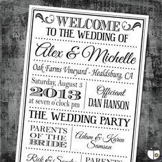 Printable Digital Wedding Program - Vintage Playbill Theme on Etsy, $30.00
