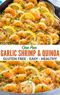 Garlic Shrimp with Quinoa—Easy, quick, and delicious! Healthy recipe with fresh lemon and garlic. Not too spicy with lots of flavor. A one pan meal that every one loves! Gluten free and perfect for busy families. via healthy Garlic Shrimp with Quinoa Quinoa Recipes Easy, Healthy Dinner Recipes, Cooking Recipes, Meals With Quinoa, Shrimp Dinner Recipes, Recipes With Beans Healthy, Meals With Shrimp, Easy Gluten Free Meals, Recipes