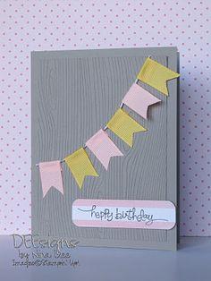 Birthday card - pennants & wood grain