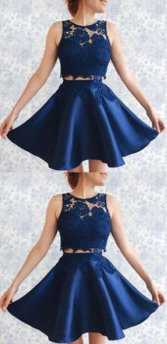 Cute Short Two Pieces Homecoming Dresses,Short Navy Blue Homecoming Dresses, Short Homecoming Dresses with Lace,Sleeveless Homecoming Dresses,Cheap Homecoming Dresses,Graduation Dresses Short,Women Dresses for Homecoming,Short Prom Dress