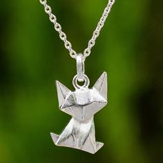 Brushed Sterling Cat Pendant Necklace with Origami Design - Origami Cat | NOVICA