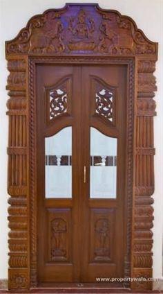 Pooja Door Design Modern 28 Ideas For 2019 Double Door Design, Main Door Design, Wooden Door Design, Wood Interior Design, Gate Design, Window Design, Room Interior, Pooja Room Door Design, Design Room